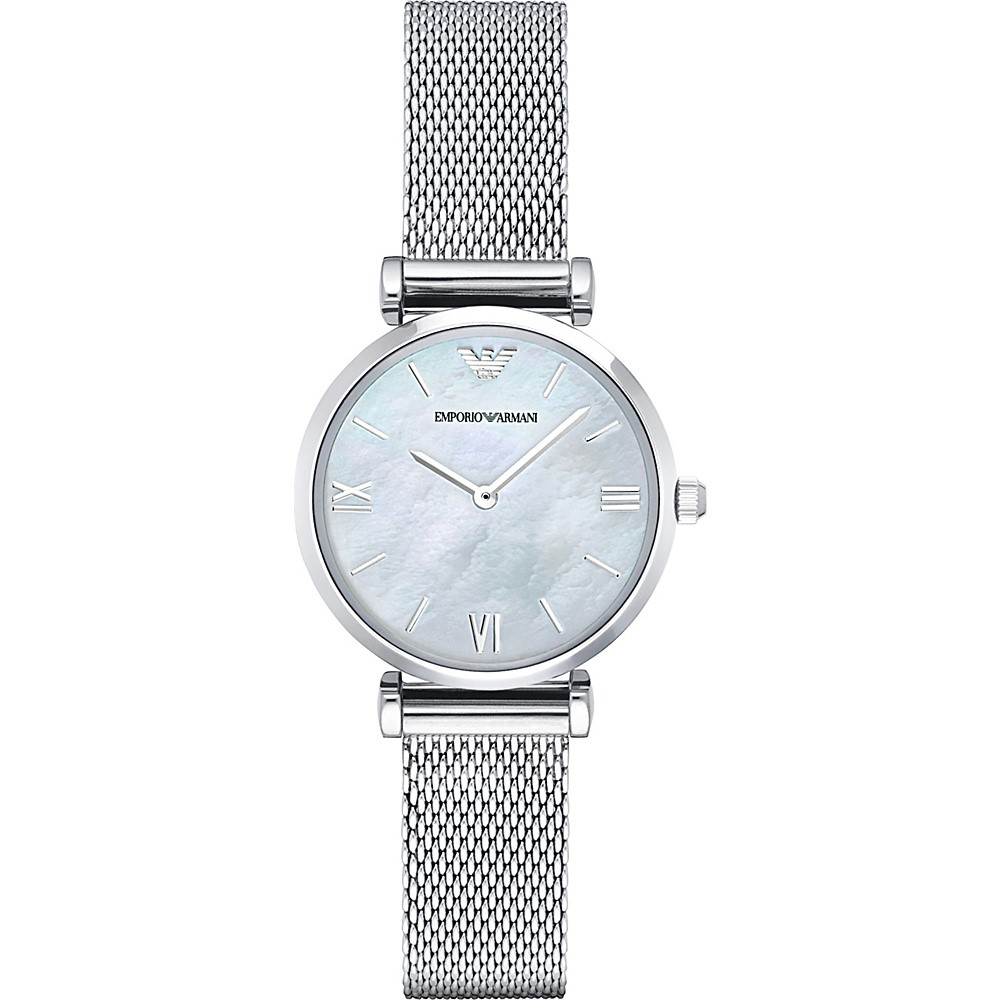 Emporio Armani Women's Gianni Mother of Pearl Mesh Strap Watch AR1955