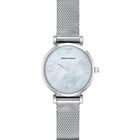 Mother Of Pearl Silver Wrist Watch - Emporio Armani Women's Gianni Mother of Pearl Mesh Strap Watch AR1955