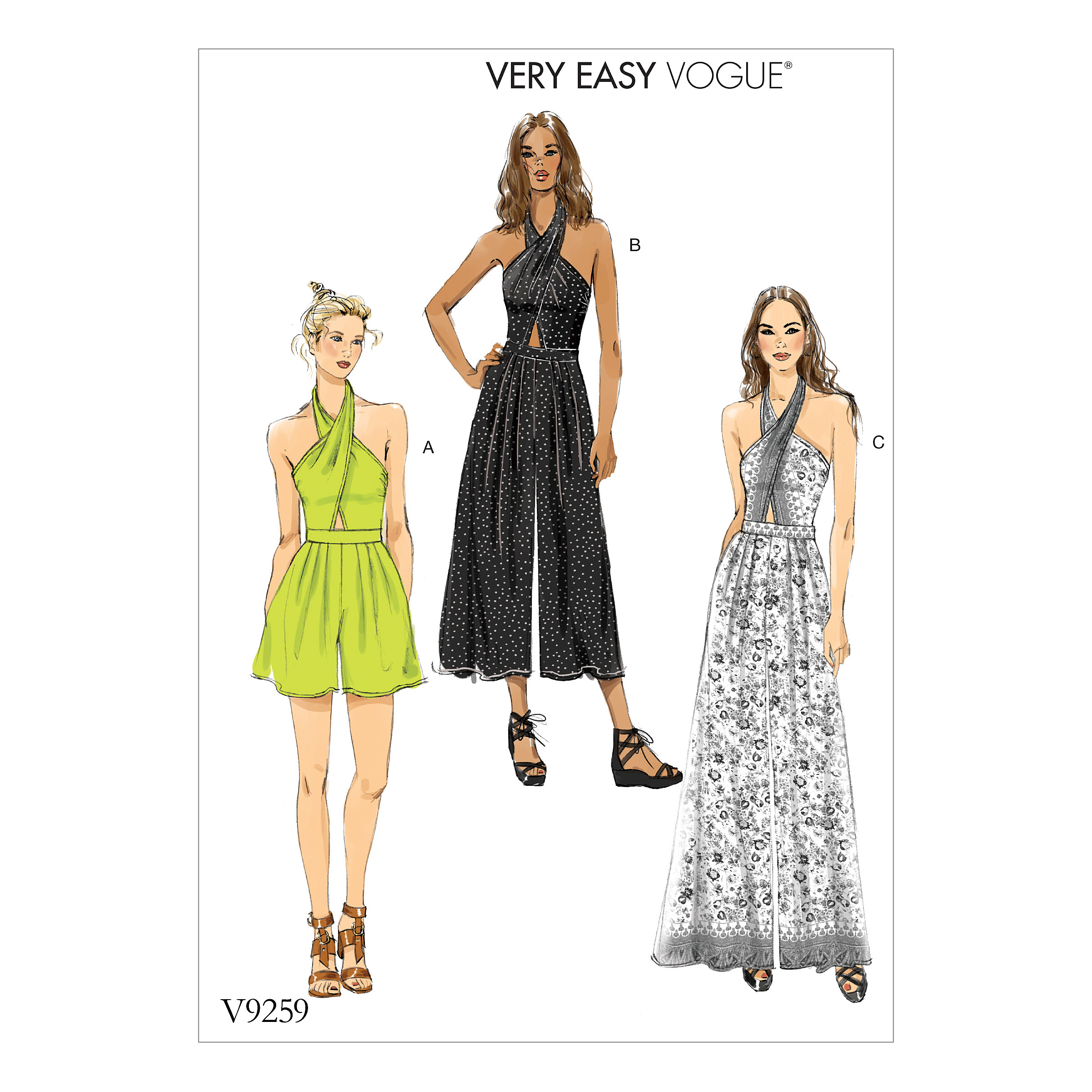 Vogue Patterns Sewing Pattern Misses' Criss-Cross Halter Romper and Jumpsuit with Length V-6-8-10-12-14