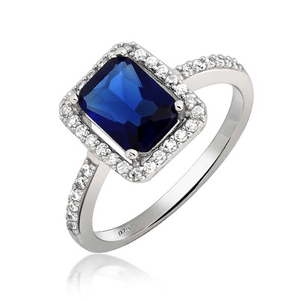 Bling Jewelry Emerald Cut Blue CZ Engagement Ring 925 Silver