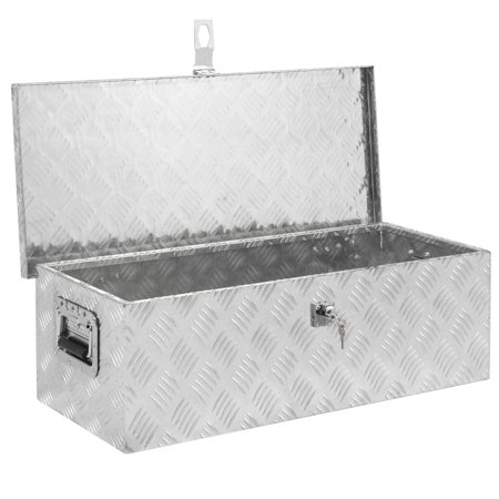 Best Choice Products 30in Lockable Aluminum Tool Box with Lock and 2