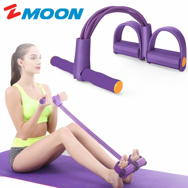 Hot 2020 Multi-Function 4 Tension Ropes Fitness Pedal Exerciser Rope Pull Bands