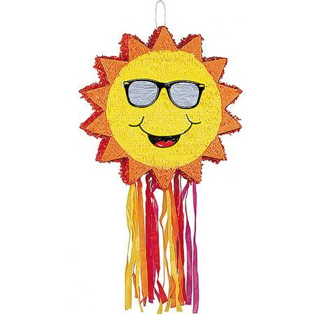 Smiling Sun Pinata, Yellow, 21in