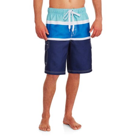 b2cbf33ecb5d OP - Men's Elastic Waist Striped Cargo Swim Trunks - Walmart.com
