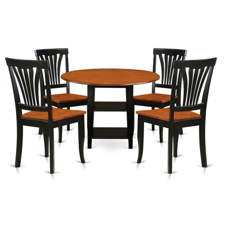 East West Furniture Sudbury 5 Piece Round Extending Dining Table Set with Wood Seat Chairs ()