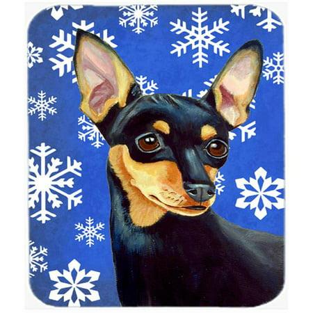 Min Pin Winter Snowflakes Holiday Mouse Pad, Hot Pad Or Trivet - image 1 de 1
