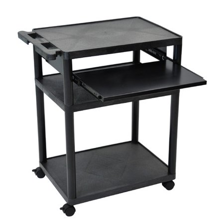 Luxor 3-Shelf Mobile Presentation Cart with Front Pullout Shelf, Black