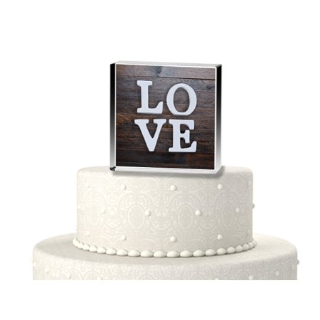 Rustic love wood cake topper for $<!---->