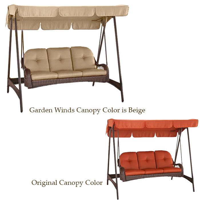 Garden Winds Replacement Canopy Top for Azalea Ridge 3 Person Swing  sc 1 st  Walmart : 3 person swing with canopy walmart - memphite.com