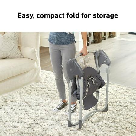 Graco Slim Spaces Compact Baby Swing, Space-Saving Design, Tilden