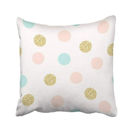 BPBOP Pink Glitter Modern Chic Polka Dot Design Colorful Pastel Gold Confetti Feminine Beautiful Pillowcase Cover 16x16