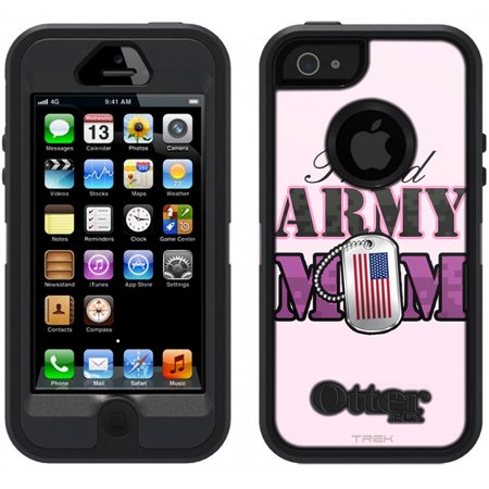 SKIN DECAL FOR OtterBox Defender Apple iPhone SE Case - Proud Army Mom DECAL, NOT A CASE