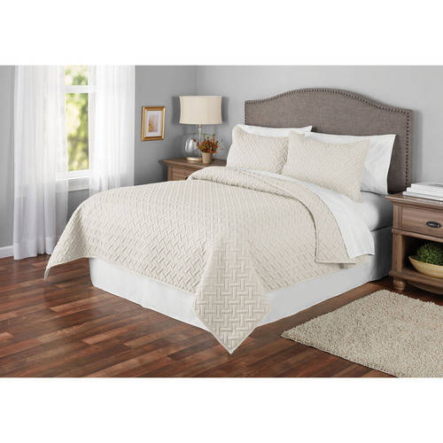 Mainstays Emma Solid Basketweave Embossed Quilt and Shams, Multiple Colors and Sizes Available