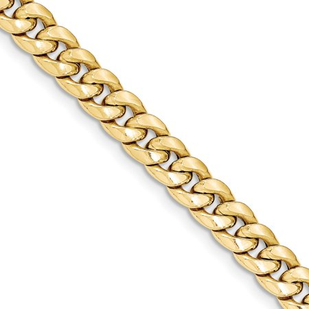 (7.3mm 14k Yellow Gold Hollow Miami Cuban Chain Bracelet - Length: 7 to 8)