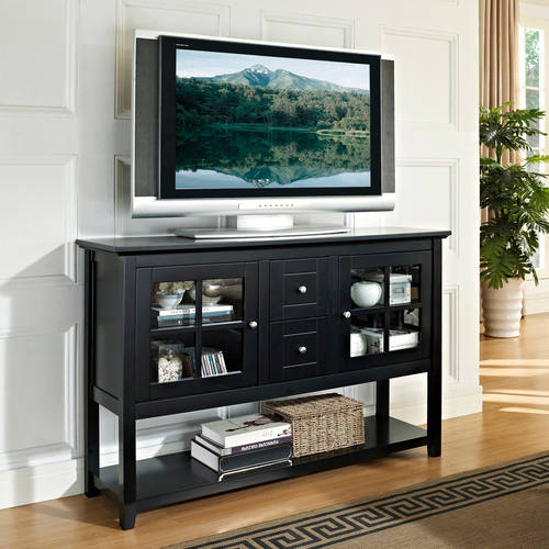 "Wood Console Table TV Stand for TVs up to 55"", Multiple Finishes"