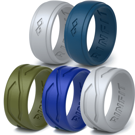 Silicone Wedding Rings / Wedding Band for Men by Rinfit. 5 Rubber Rings Pack - Rings For Boys