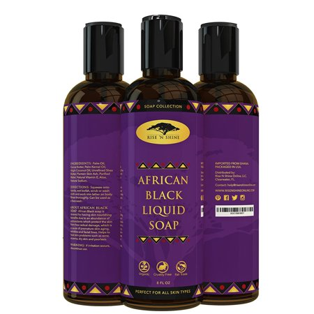 African Black Soap Liquid Body Wash with Coconut Oil and Shea Butter - Great Shampoo and Face Wash - Helps Clear Dry Skin, Acne, Eczema, Psoriasis - Organic African Black Soap from Ghana (8