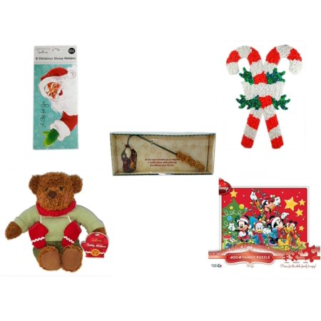 Christmas Fun Gift Bundle [5 Piece] - Hallmark Expressions 6  Money Holders - Vintage 1960's Kage Co. Melted Popcorn Candy Cane - Debbie Mumm Button Santa Candle Snuffer - Hallmark Teddy Mittens  Ce for $<!---->