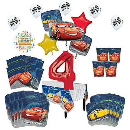 Disney Cars 4th Birthday Party Supplies 16 Guest Kit and Balloon Bouquet Decorations 94 pc - Cars Birthday Decorations