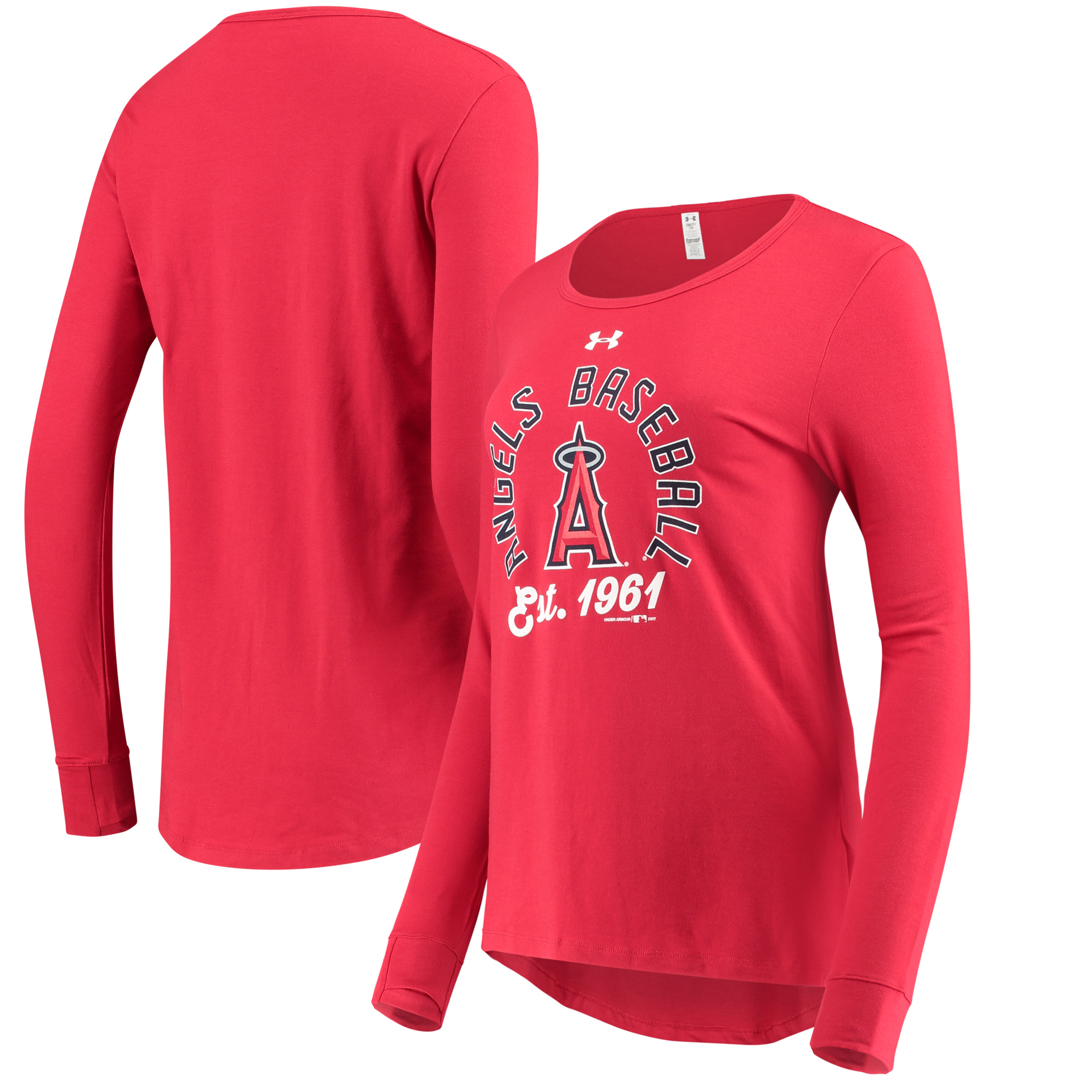 Los Angeles Angels Under Armour Women's Charged Long Sleeve T-Shirt - Red