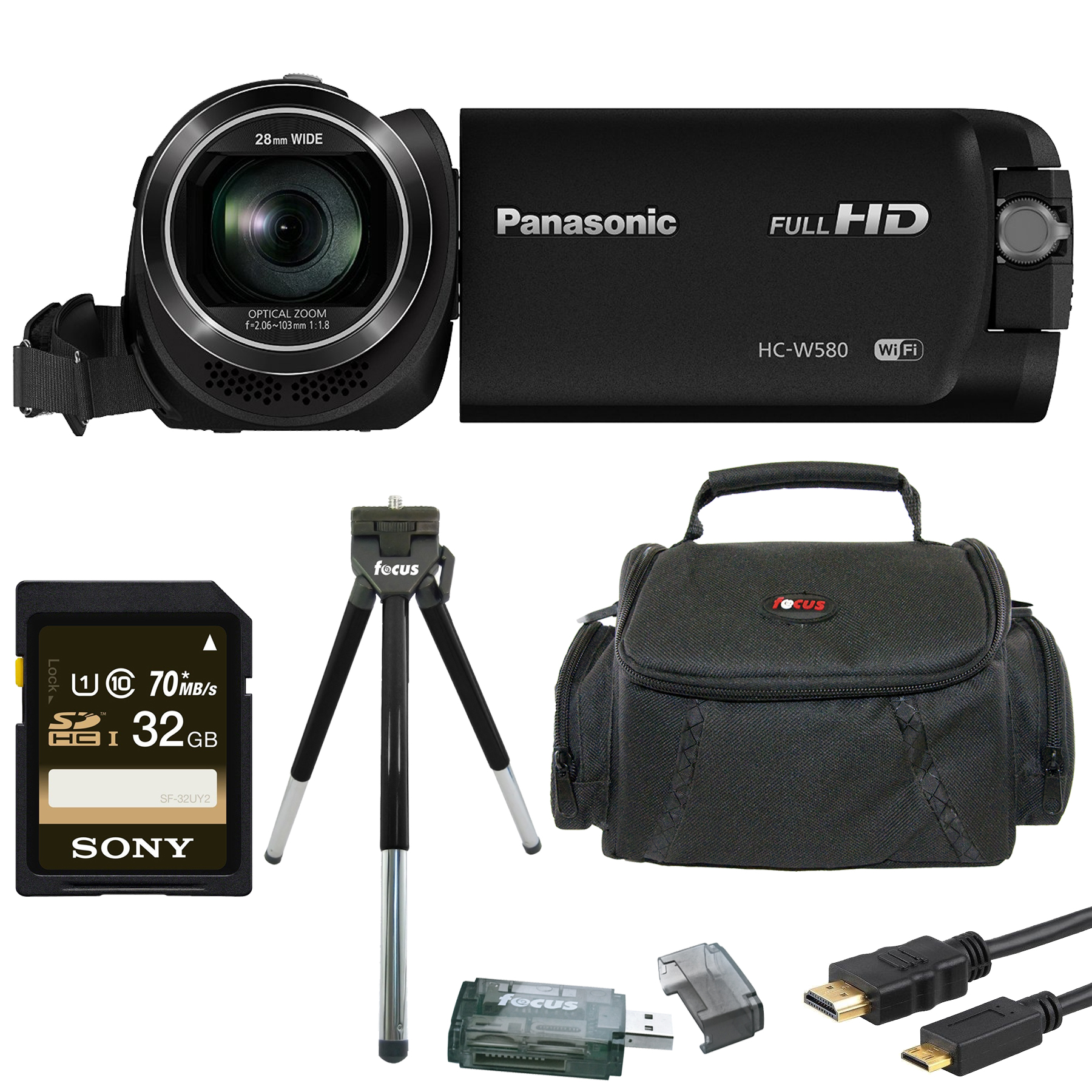 Panasonic HC-W580K Full HD 1080p Camcorder w/ Twin Camera & 32GB SD Card Bundle