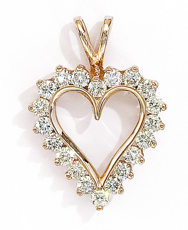 """14K Yellow Gold and Diamond Heart Pendant with 18"""" Chain (1.50 carat) by"""