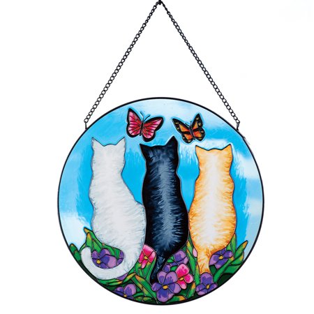 Cat Trio in Garden Colorful Glass - Halloween Stained Glass Suncatchers