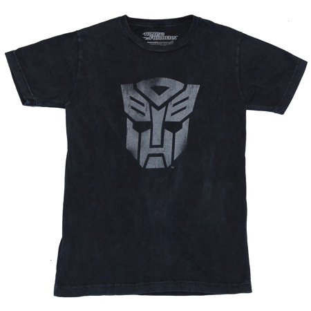 Transformers Mens T-Shirt -  Heavily Distressed Single Gray Toned Autobot Logo (Small)