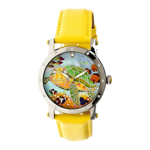 Bertha Chelsea Mop Leather-Band Ladies Watch - Silver/Yellow