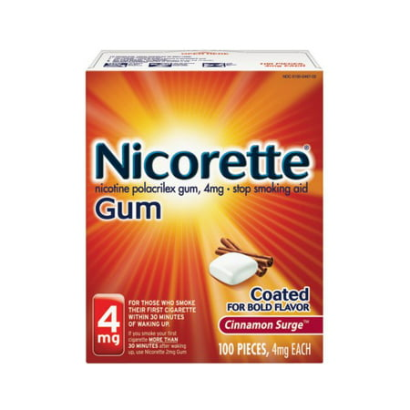 Nicorette Nicotine Gum, Stop Smoking Aid, 4 mg, Cinnamon Surge Flavor, 100 (The Best Stop Smoking Aid)