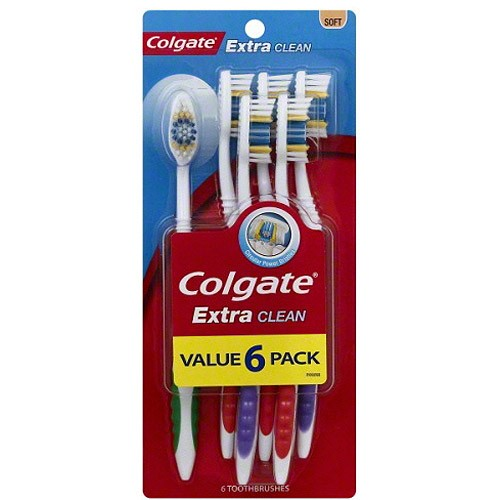 Colgate Extra Clean Manual Toothbrush Value Pack, Soft, 6 Ct
