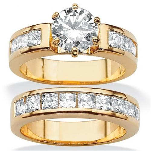 PalmBeach Jewelry 501796 4. 40 TCW Round Cubic Zirconia 14k Yellow Gold-Plated Bridal Engagement Ring Wedding Band Set -