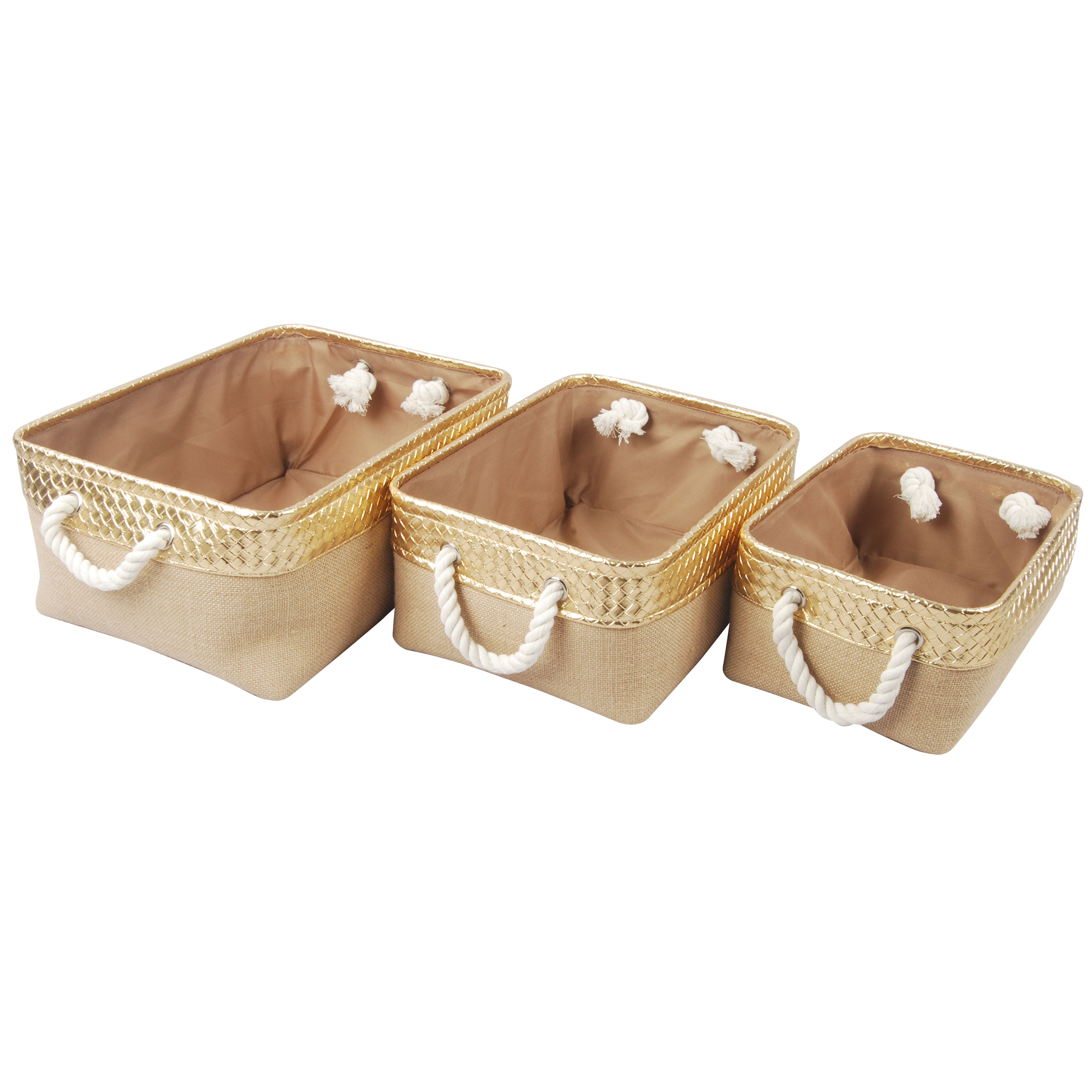 A&B Home Alcott Jute Nested Baskets, Gold & Natural, Set of 3