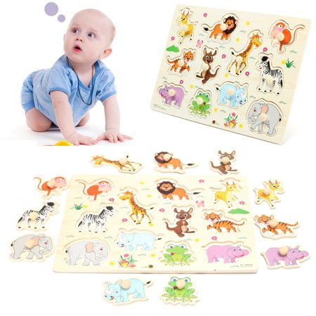 Wooden Zoo Animal Peg Jigsaw Puzzle Toy Children Kids Baby Toddlers Early Learning Educational Plate Gift (Toddler Educational Games)