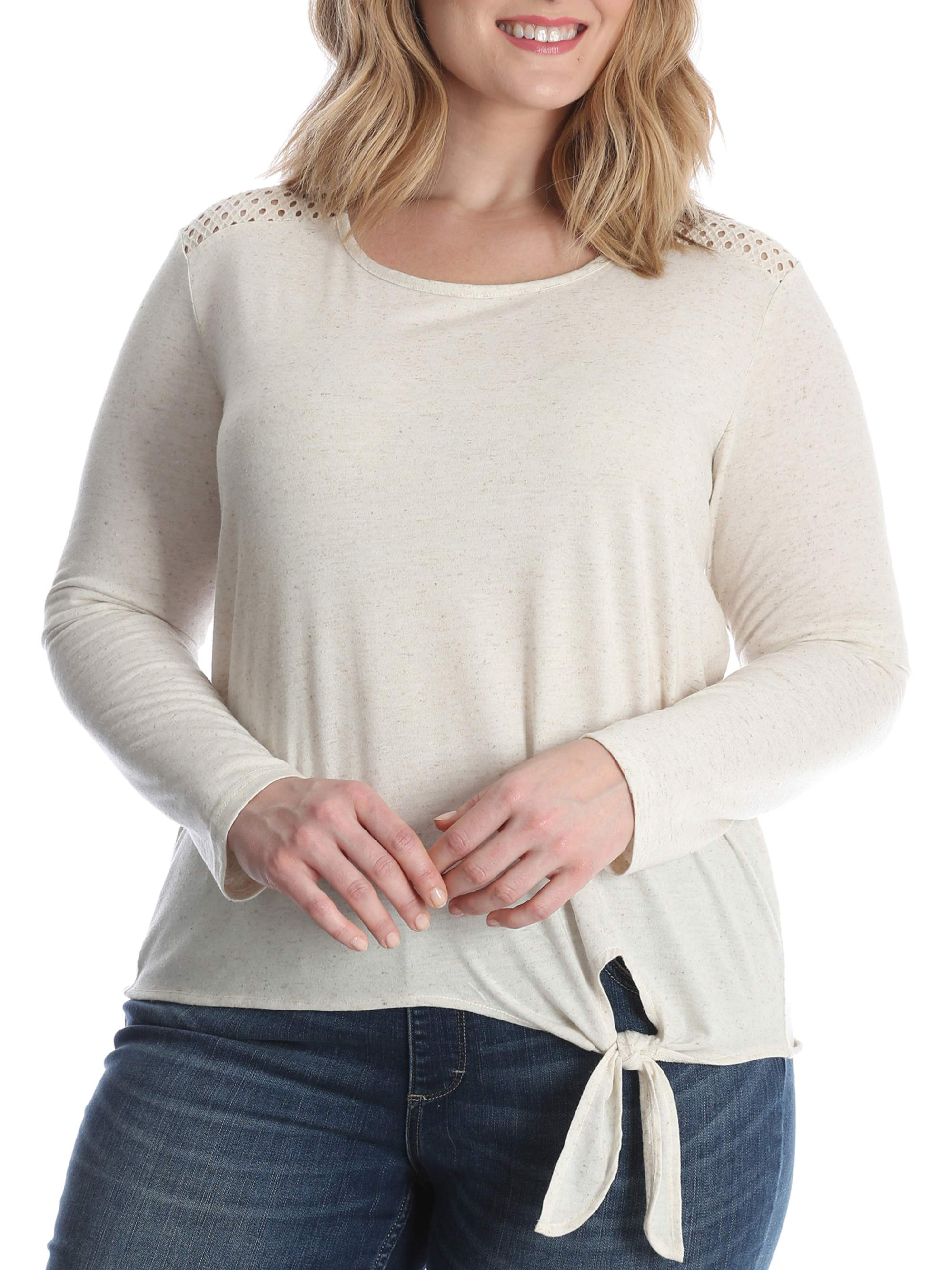 Women's Plus Long Sleeve Knit Top with Lace Shoulder
