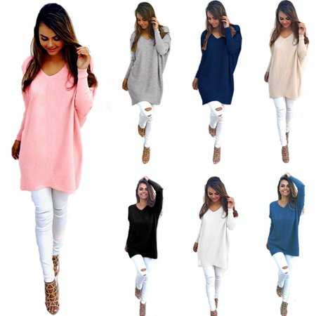 Womens V-Neck Chunky Knitted Oversized Baggy Sweater Winter Loose Batwing Long Sleeve Jumper Tops