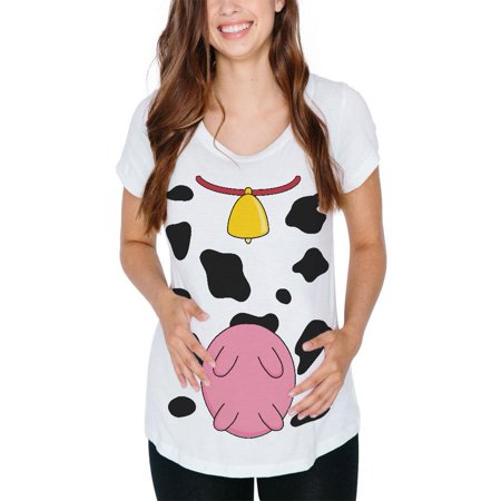 Halloween Cow Costume Udders Funny Maternity Soft T Shirt