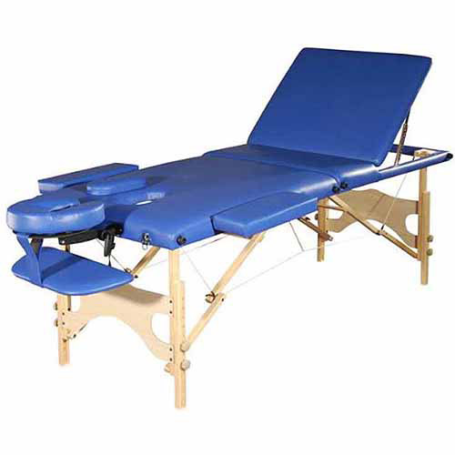 GGI International Sivan Health and Fitness Three Fold Reiki Portable Massage Table and Carrying Case, Blue