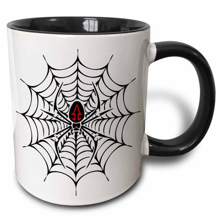 3dRose Black Widow Spider in a Web - Two Tone Black Mug, 11-ounce (Black Widow Spider Web)
