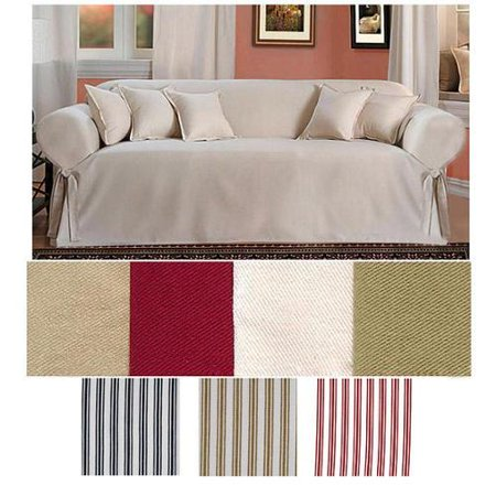 Brushed Twill Sofa Slipcover Khaki White Stripe Walmart Com