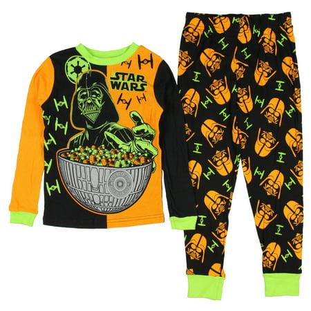 Star Wars Darth Vader Boys' Halloween Glow In The Dark 2 Piece Pajama Set