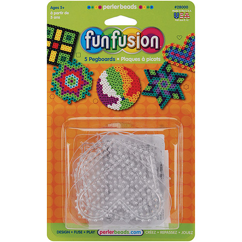 Perler Fun Fusion Bead Pegboards 5-Pack, Clear Shapes