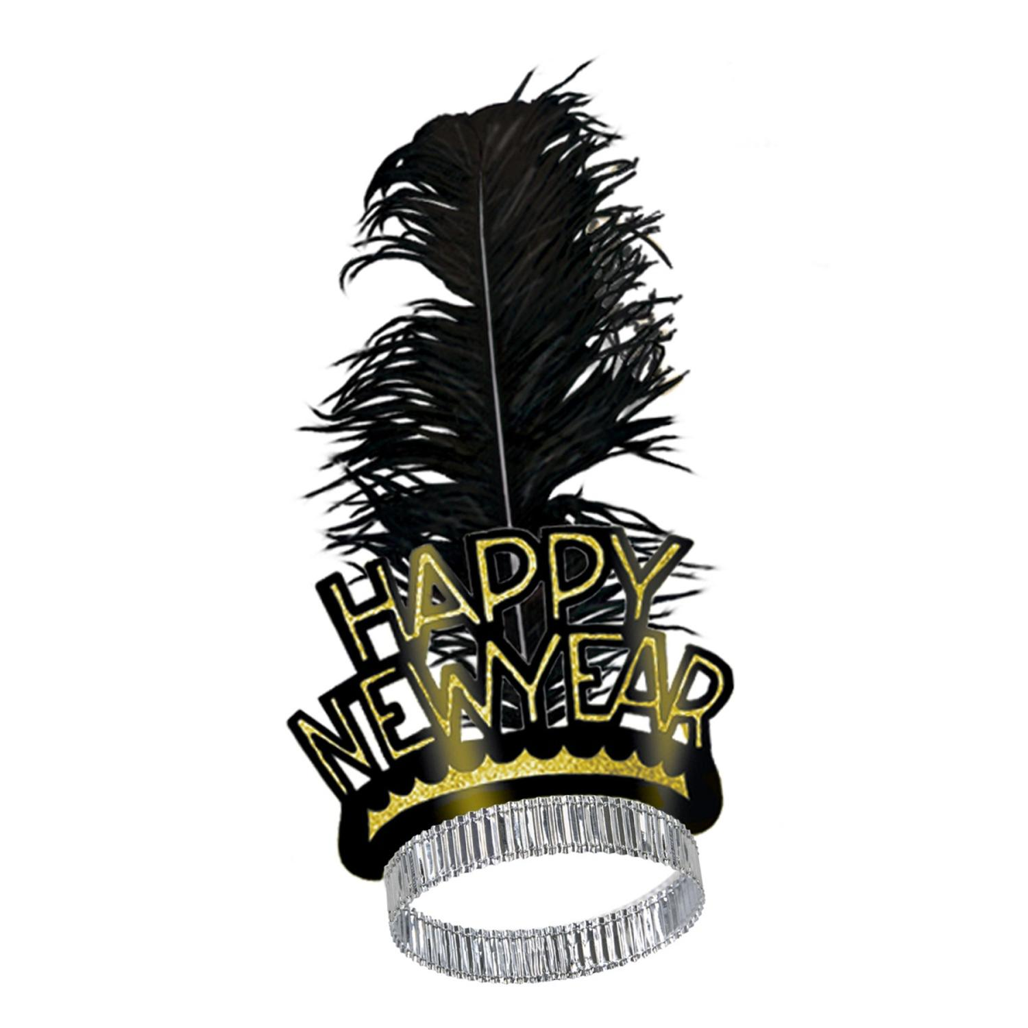 "Club Pack of 50 Black and Gold Swing ""Happy New Years"" Legacy Party Favor Tiaras"