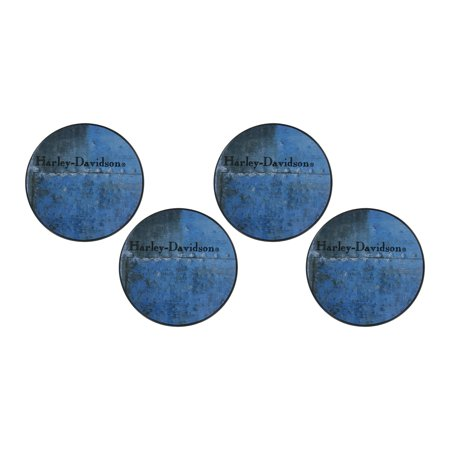 Harley-Davidson Blue Metal Collection 4 Pack Coasters (Blue Coasters)
