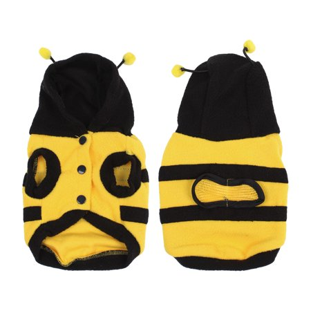 Warm Pet Dog Doggie Bee Design Hat Apparel Clothes Hooded Coat Yellow XS
