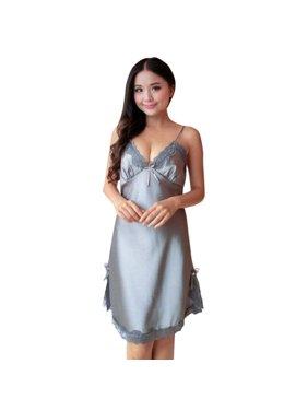 8da77502c0a7b Product Image Fashion Sexy Sleepwear Women Silk Lace Nightgowns V-Neck  Spaghetti Straps Nightdress