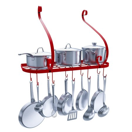 Vdomus Wall Mount Pot Pan Rack Kitchen Cookware Storage Organizer 24 By 10 In