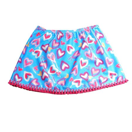 Bathing Babes by Rubbies - Big Girls Undercover Skirt Blue Hearts / Fits sizes 7/16