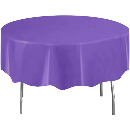 (3 Pack) Plastic Round Tablecloth, 84 in, Neon Purple, 1ct