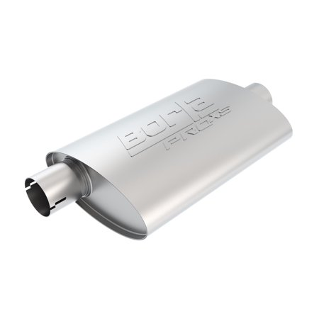 Borla 400481 Borla Pro Xs Muffler  Center Offset  2 50 In  Center Inlet  2 25 In  Offset Outlet  14 In  X 4 25 In  X 7 88 In  Case Body  Oval  Notched  T 304 Stainless Steel